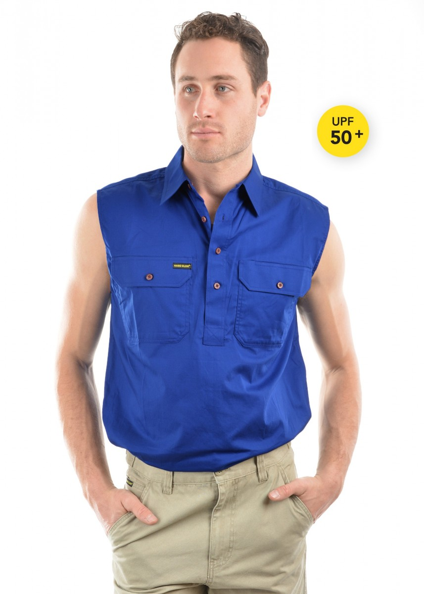 MENS HALF PLACKET LIGHT COTTON SLEEVELESS SHIRT
