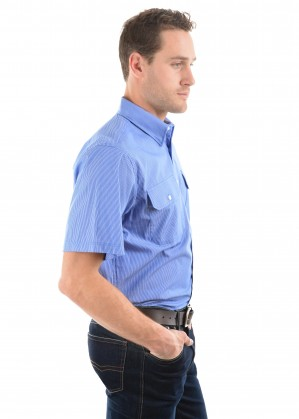 MENS GRAFTON STRIPE 2-POCKETS S/S SHIRT