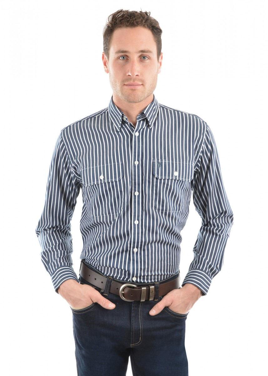 MENS WINTON STRIPE 2-POCKETS L/S SHIRT