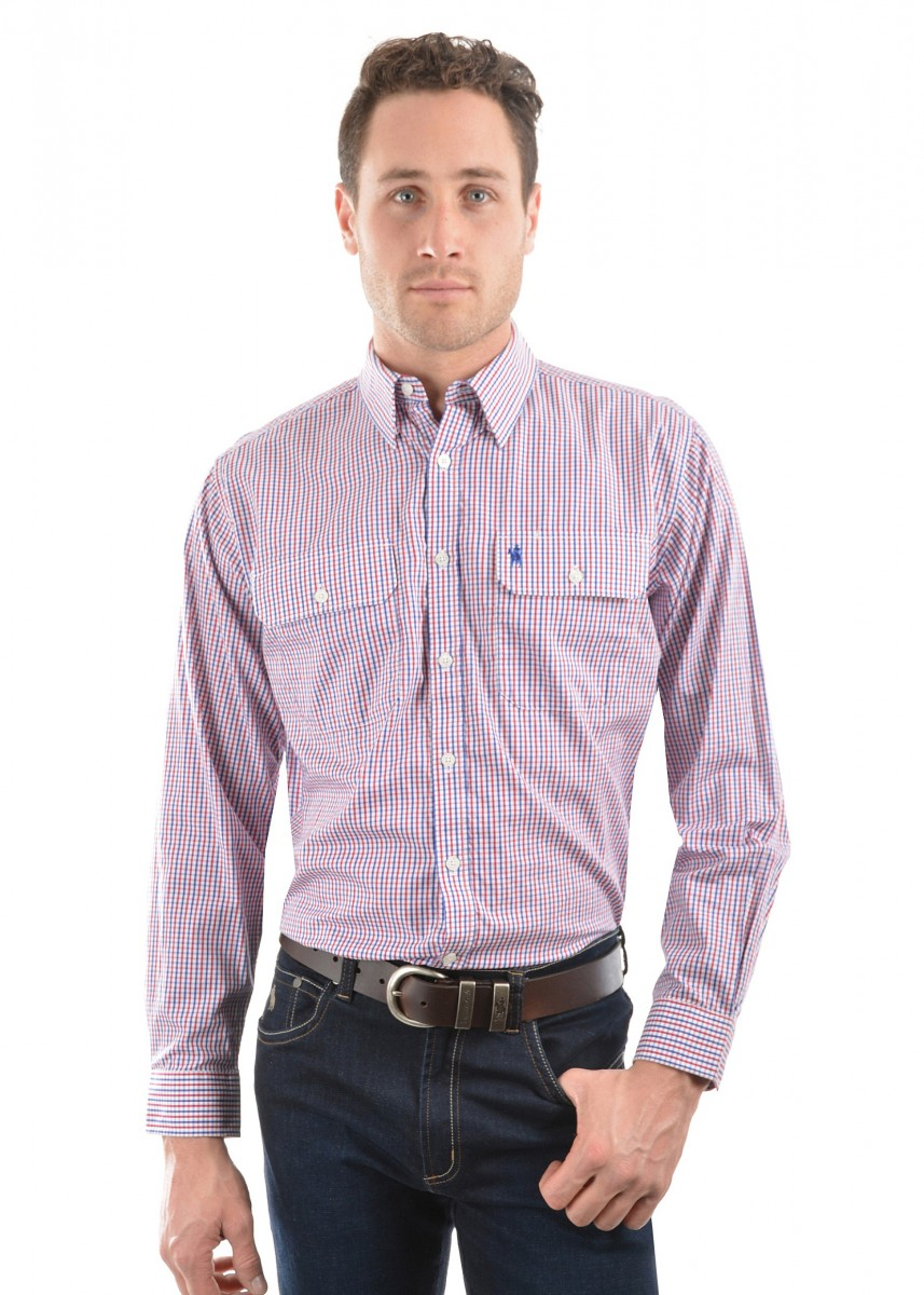 MENS WENTWORTH CHECK 2-POCKETS L/S SHIRT