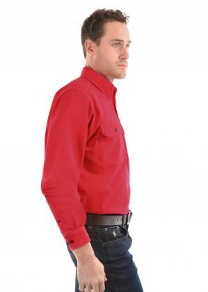 HEAVY COTTON DRILL HALF PLACKET 2-POCKETS L/S SHIRT