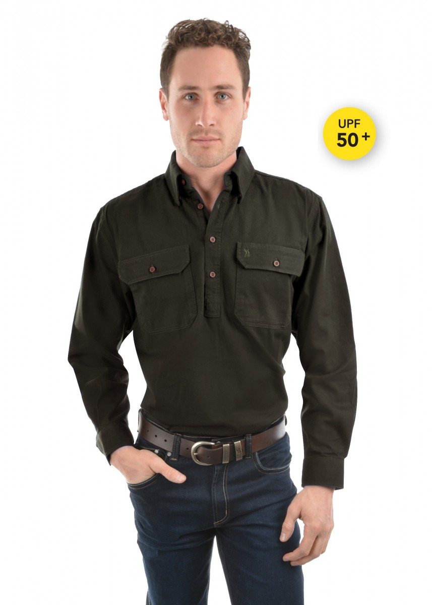 HEAVY COTTON DRILL HALF PLACKET 2-POCKETS L/S SHIRT
