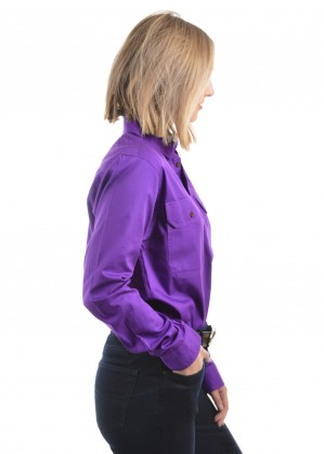 LIGHT DRILL HALF PLACKET 2-POCKETS L/S SHIRT