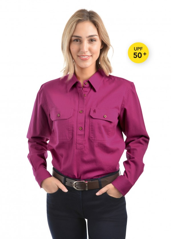 WOMENS HEAVY DRILL HALF PLACKET 2-POCKETS L/S SHIRT