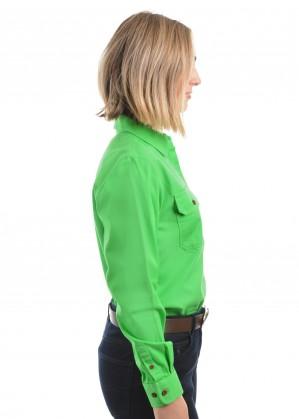 WOMENS HEAVY DRILL HALF PLACKET 2-POCKETS L/S SHIRT