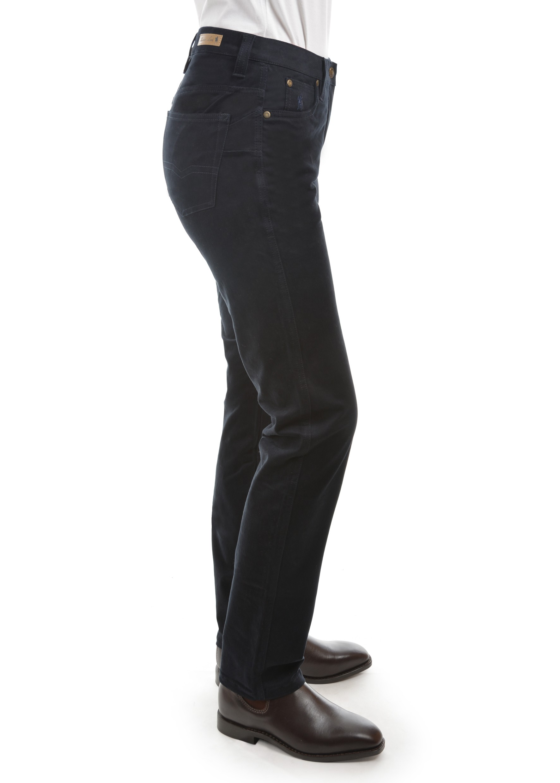 New £22 Ladies Black Bootcut Stretch Moleskin Jeans Size 10 Medium