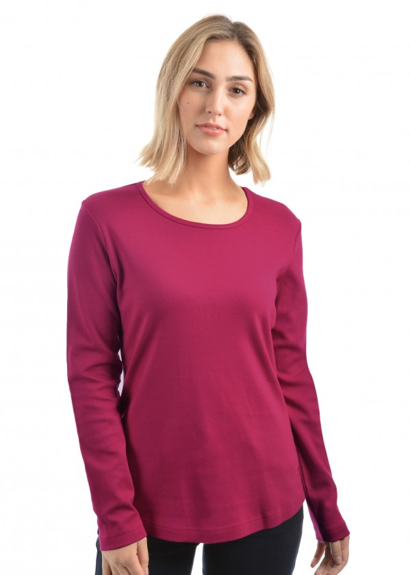 WOMENS CURVED HEM L/S TOP