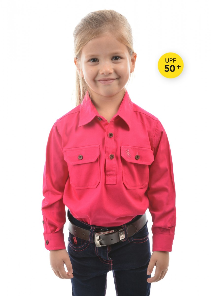KIDS HEAVY COTTON DRILL HALF PLACKET L/S SHIRT