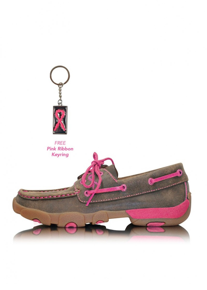 WOMENS PINK RIBBON MOCS LACE UP