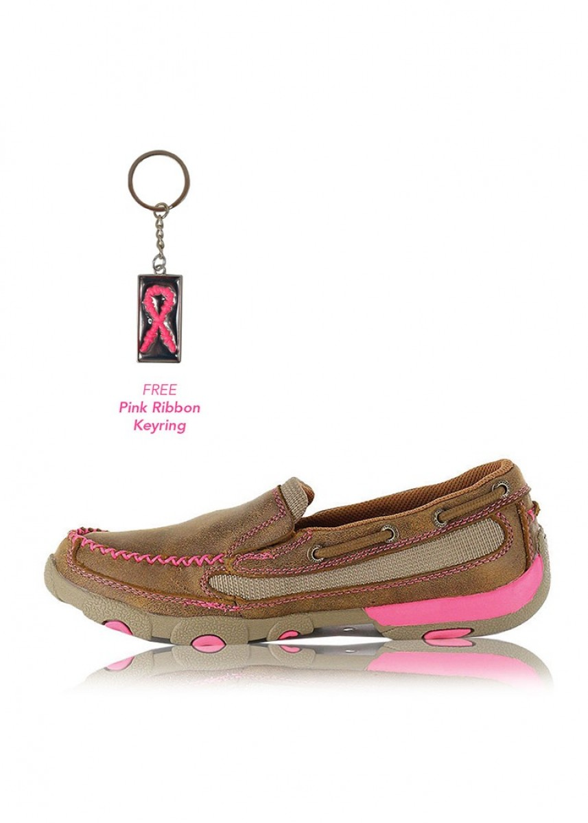 WOMENS PINK RIBBON MOCS BOAT SLIP ON