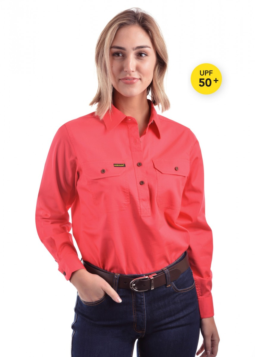 WOMENS HALF PLACKET LIGHT COTTON SHIRT