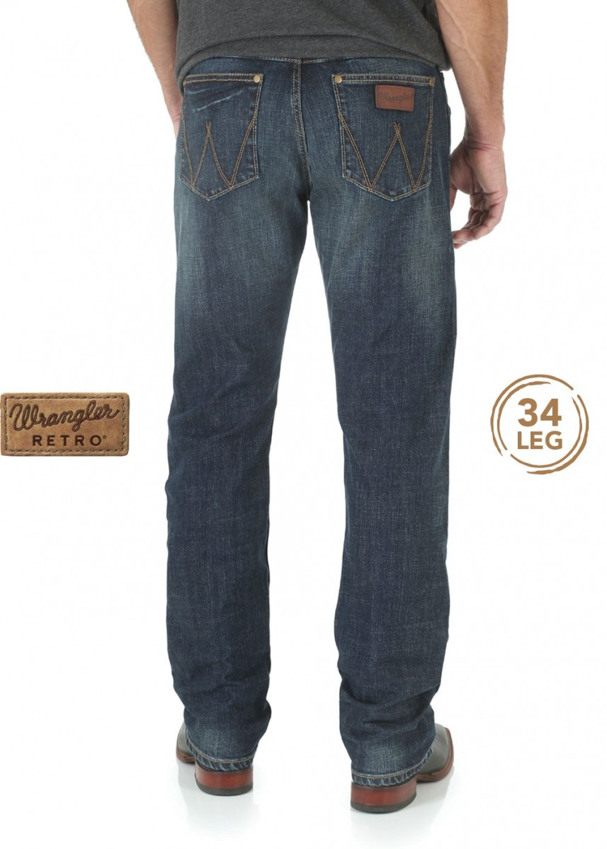 MENS RETRO SLIM STRAIGHT JEAN 34 LEG