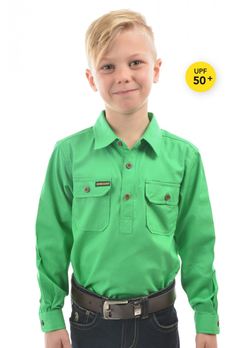 KIDS HALF PLACKET LIGHT COTTON SHIRT