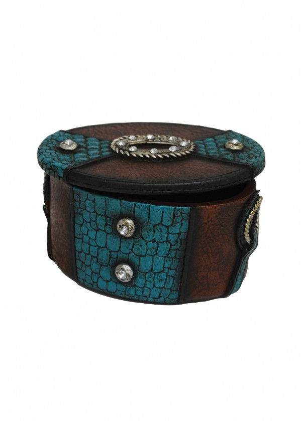 OVAL SNAKESKIN&BLING SMALL JEWELLERY BOX