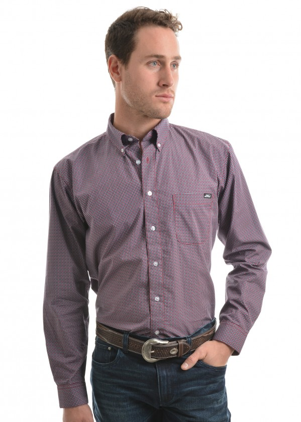 MENS HARRISON PRINT BUTTON DOWN LS SHIRT