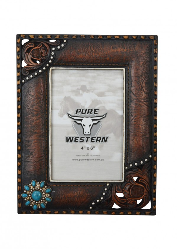 EMBOSSED LEATHER LOOK PICTURE FRAME