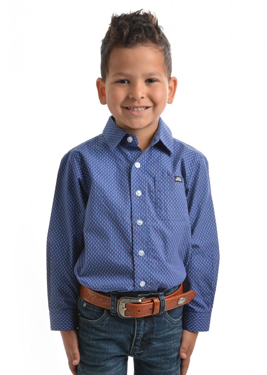 BOYS JETHRO PRINT BUTTON DOWN LS SHIRT