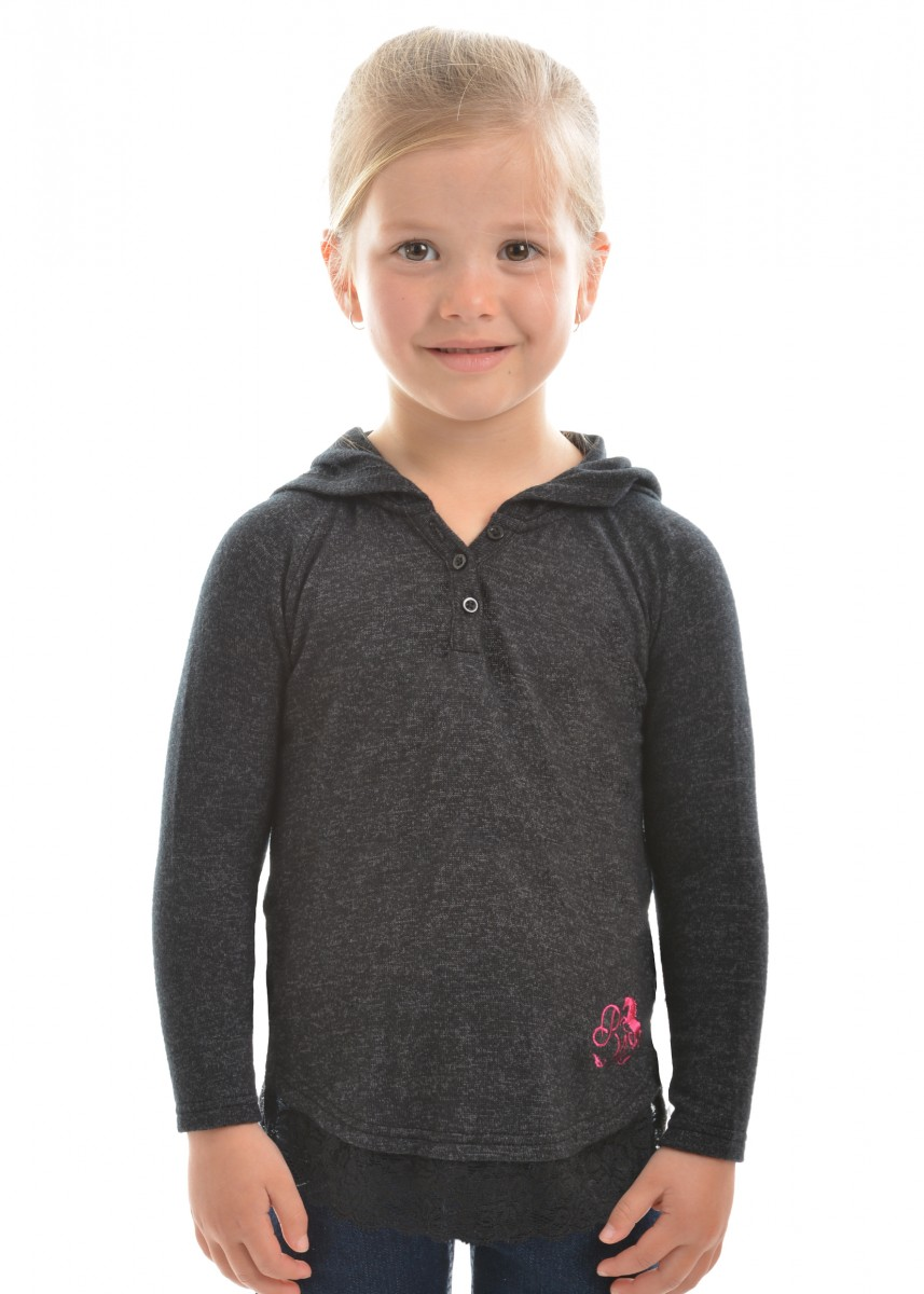 GIRLS CLARA HOODED L/S TOP