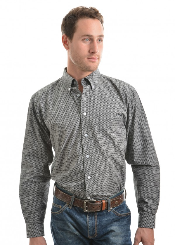 MENS SAXON PRINT BUTTON DOWN LS SHIRT