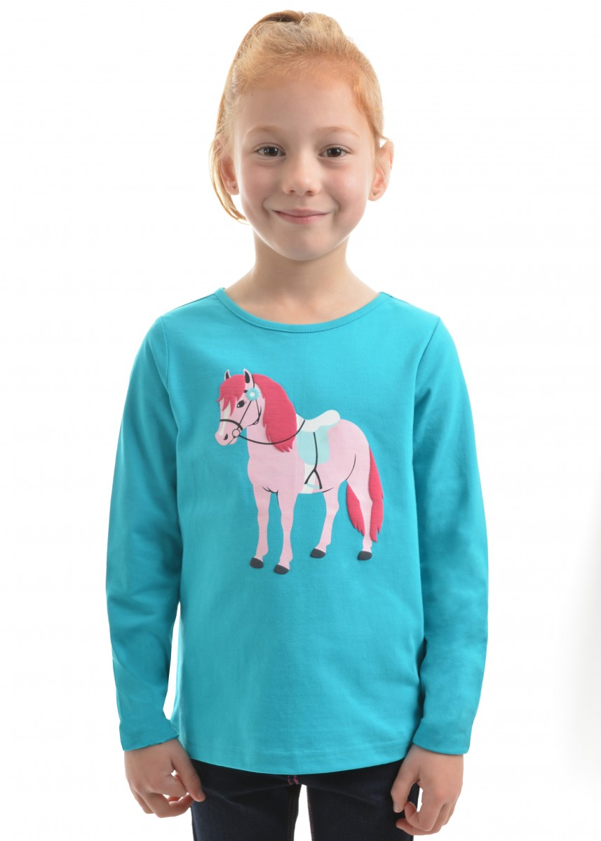 GIRLS PUFF PRINT PONY L/S TOP