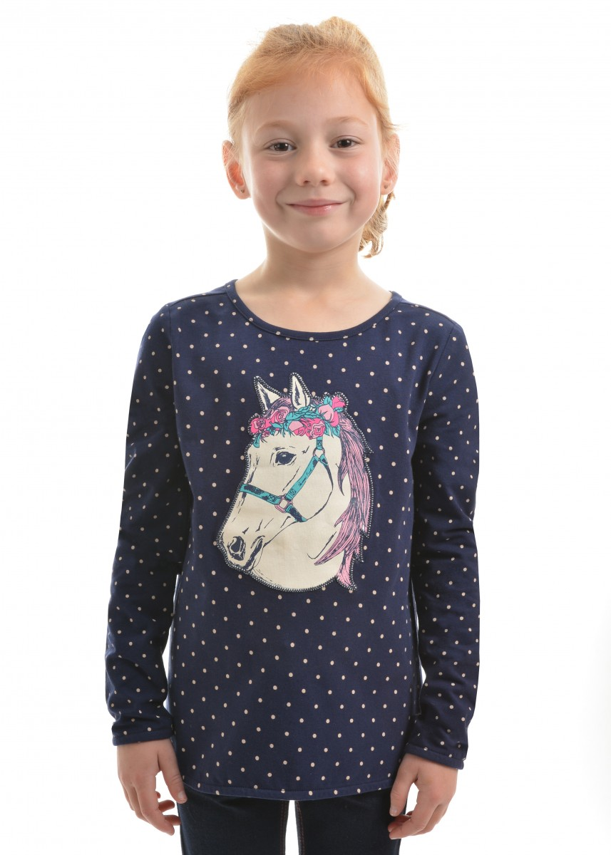 GIRLS APPLIQUE HORSE L/S TOP