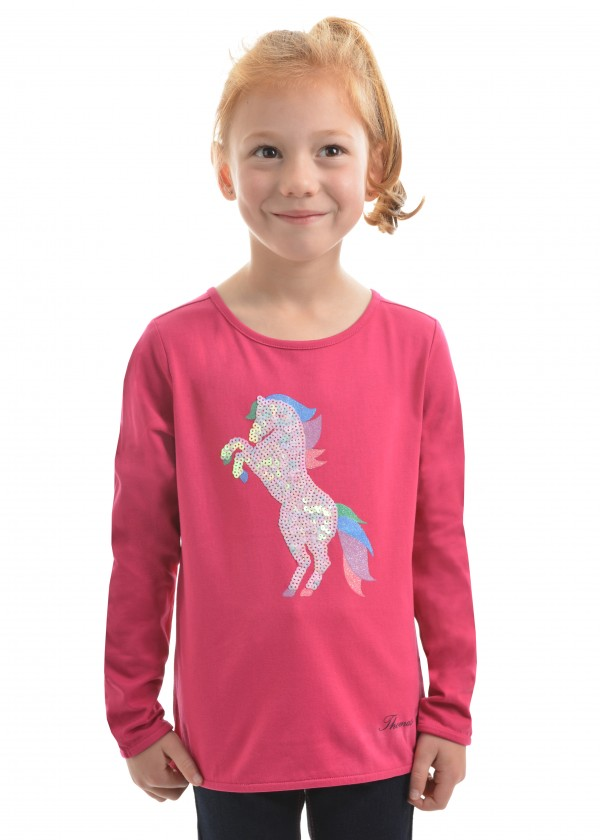 GIRLS SPARKLE HORSE L/S TOP