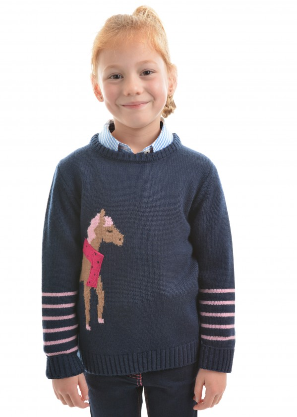 GIRLS CHARLOTTE HORSE KNIT JUMPER