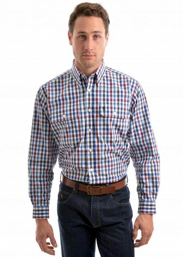 MENS MITCHELL CHECK 2-PKT L/S SHIRT