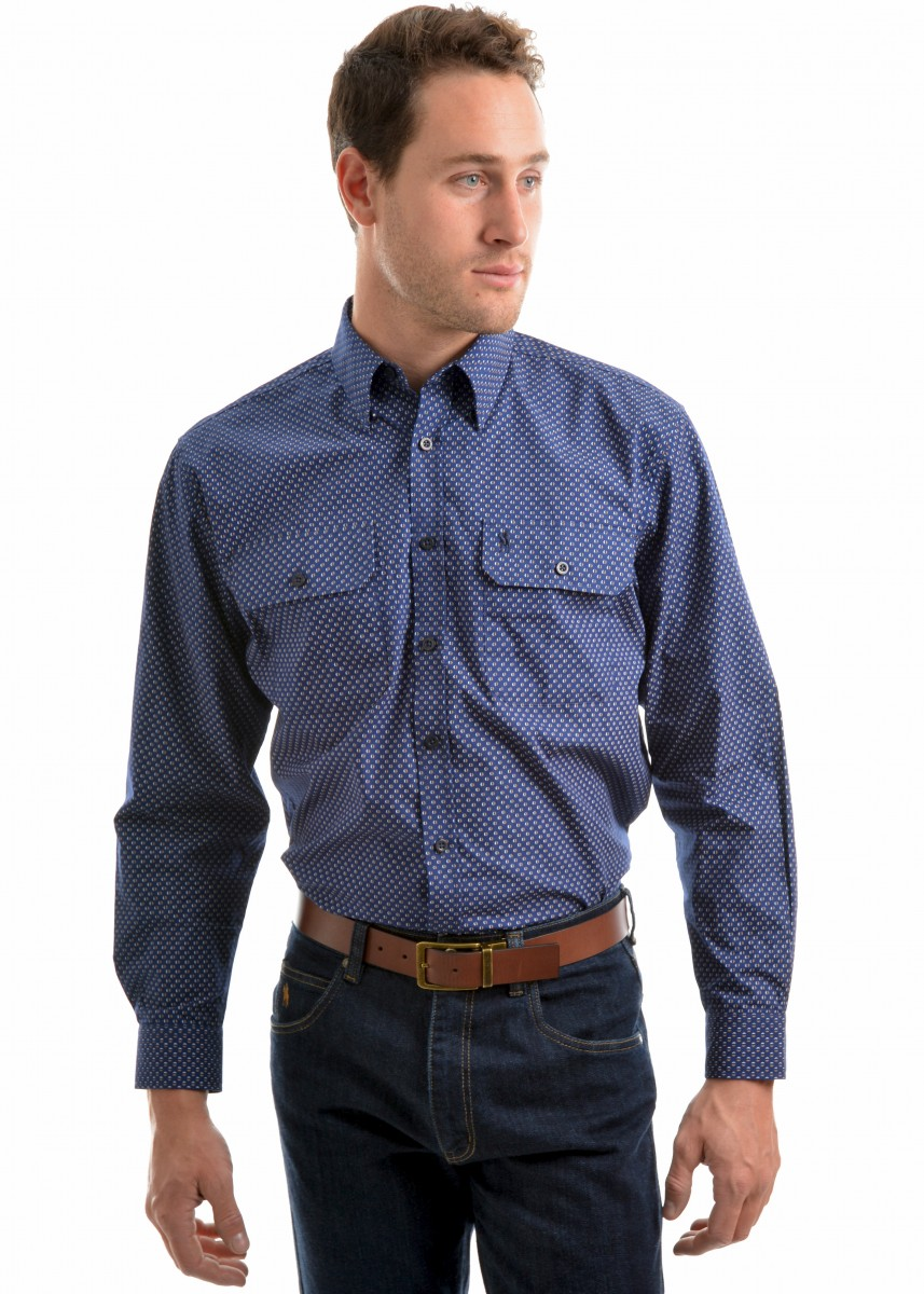 MENS ALEXANDRA PRINT 2-POCKETS L/S SHIRT