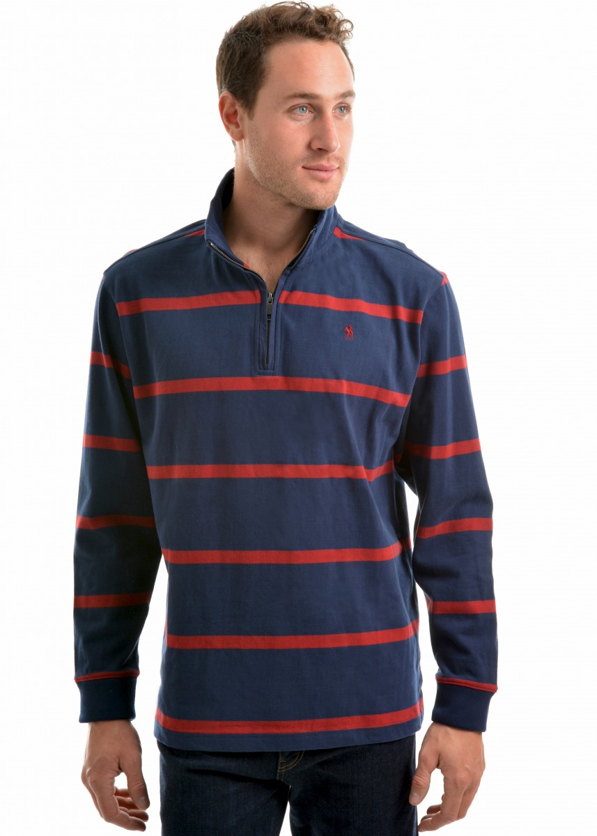 MEN WILMINGTON STRPE 1/4 ZIP NECK RUGBY