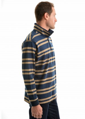 MENS NEERIM STRIPE 1/4 ZIP NECK RUGBY