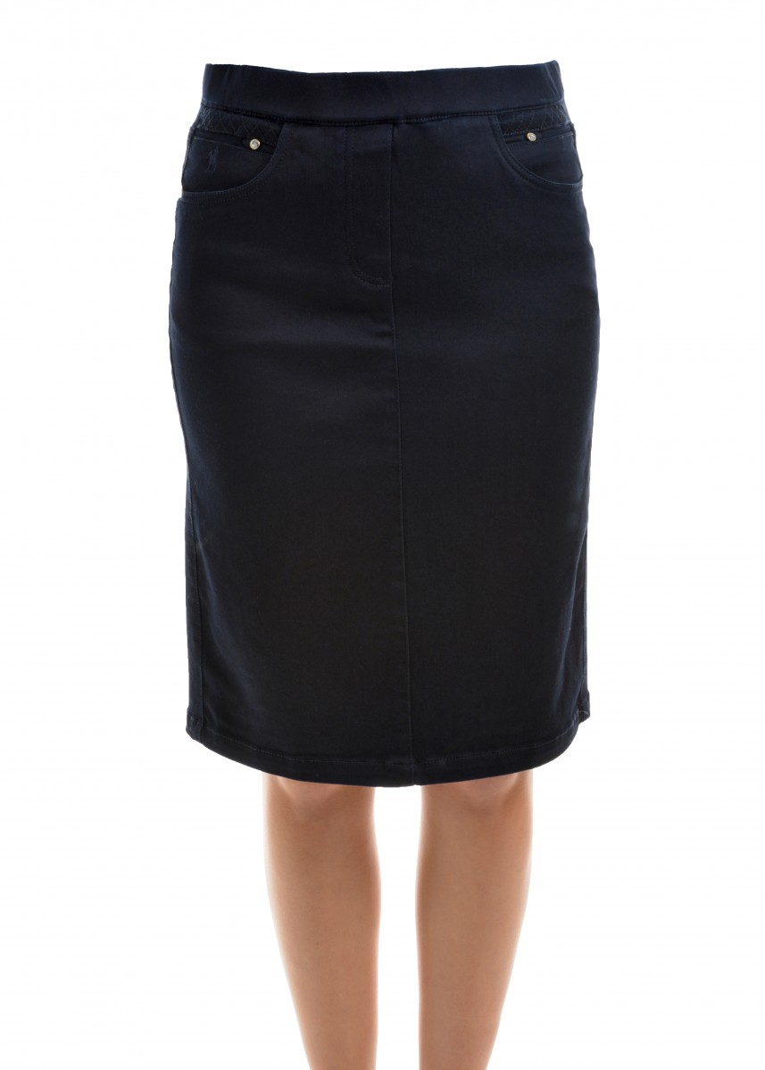WOMENS NO FUSS PULLON DENIM SKIRT