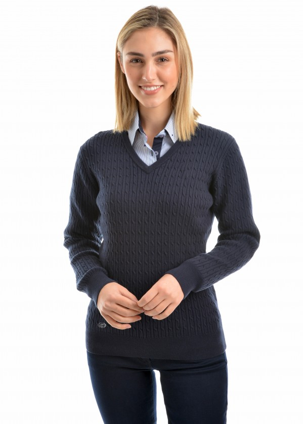 WOMENS V-NECK FINE CABLE JUMPER