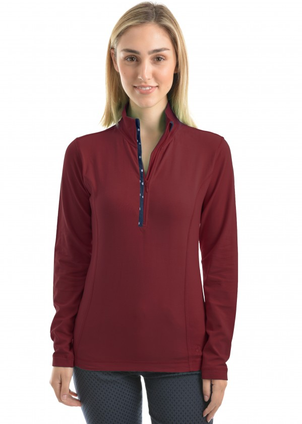 WMNS ZIP NECK SKIVVY WITH TRIM