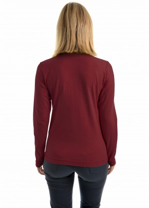 WOMENS ZIP NECK SKIVVY WITH TRIM