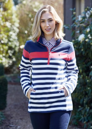 WOMENS ABIGAIL STRIPE 1/4 ZIP NECK RUGBY