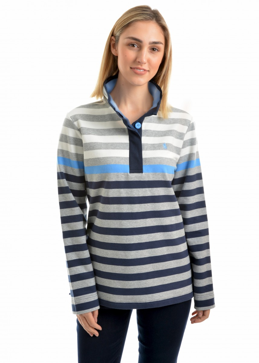 WOMENS ISABELLA STRIPE BUTTON-UP RUGBY