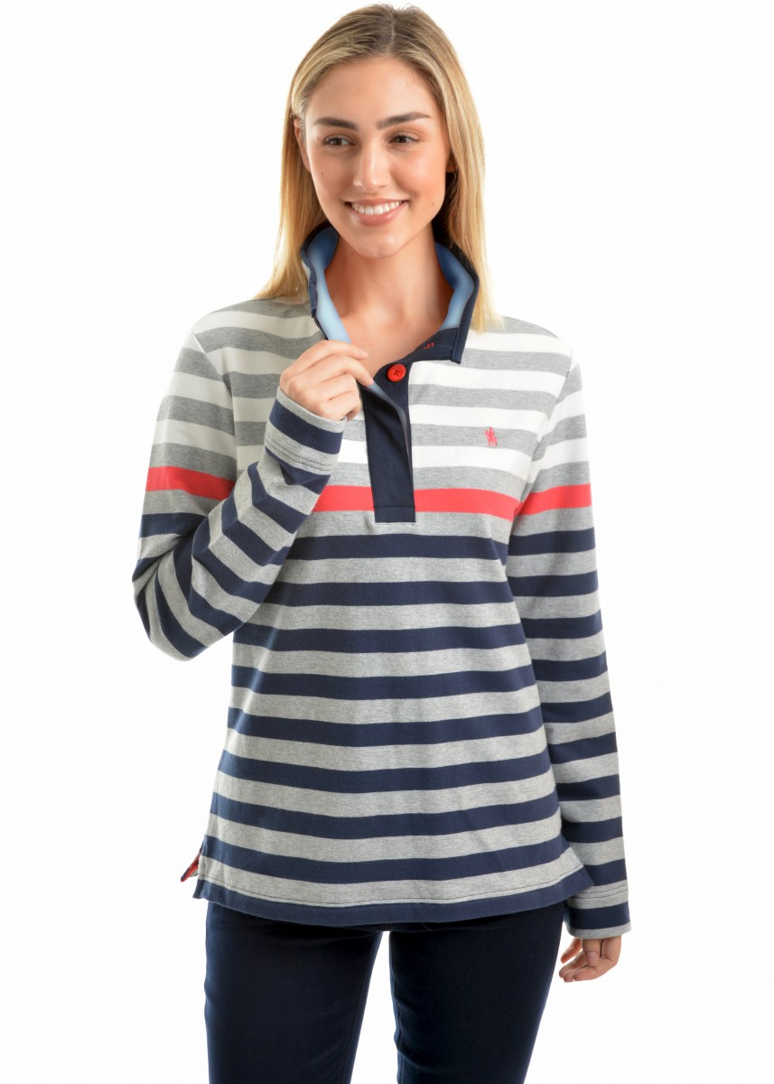 WMNS ISABELLA STRIPE BUTTON-UP RUGBY