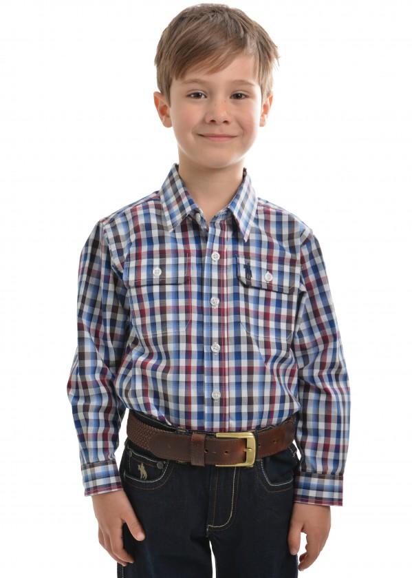 BOYS MITCHELL CHECK 2-POCKETS L/S SHIRT