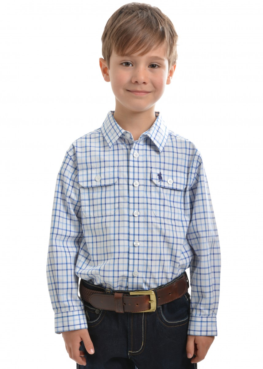 BOYS FINLEY CHECK 2-POCKETS L/S SHIRT