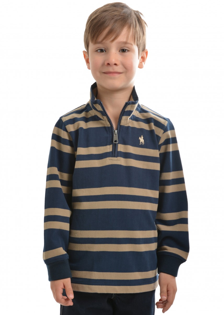 BOYS NEERIM STRIPE 1/4 ZIP NECK RUGBY