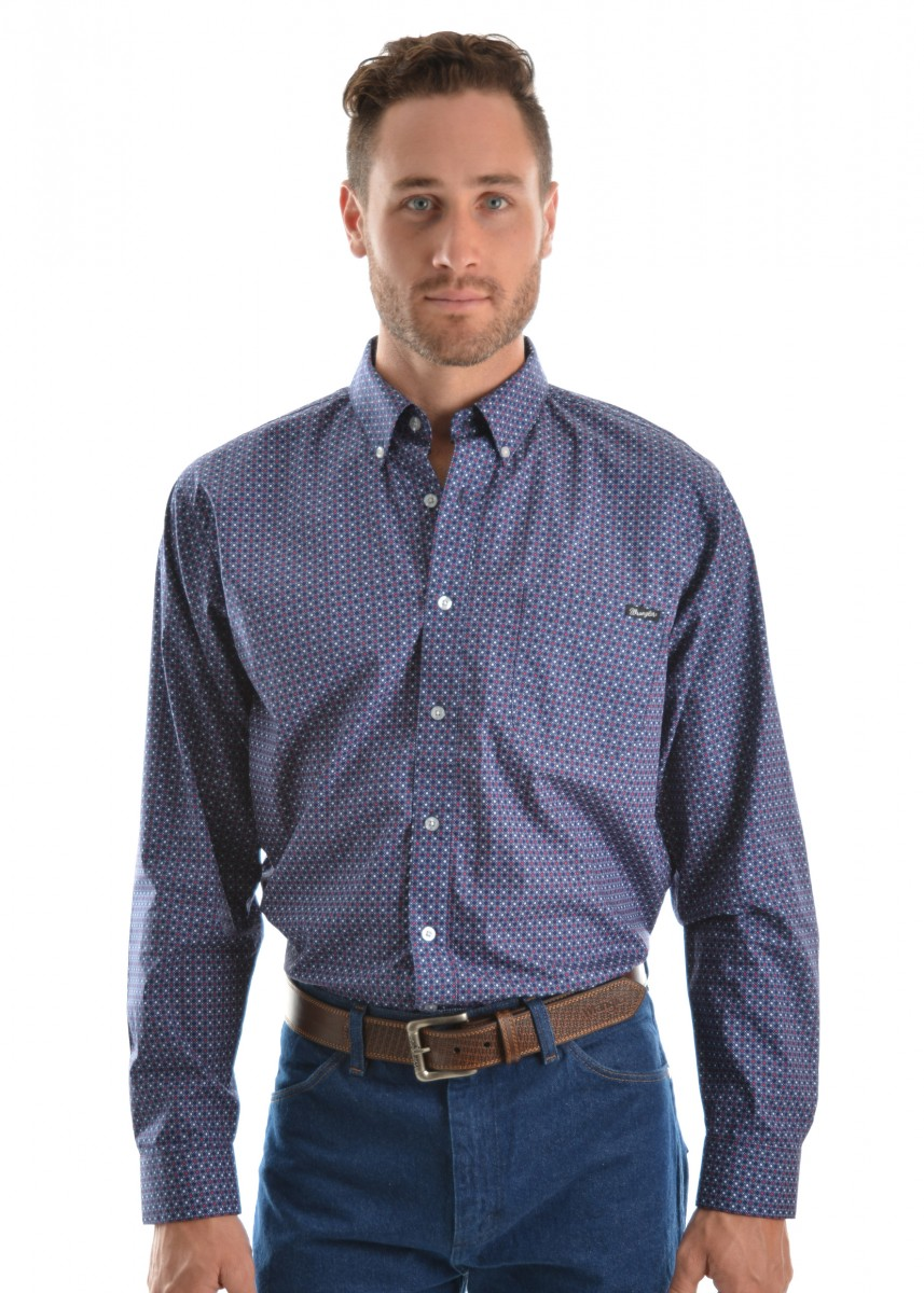 MENS ARCHER PRINT BUTTON DOWN LS SHIRT
