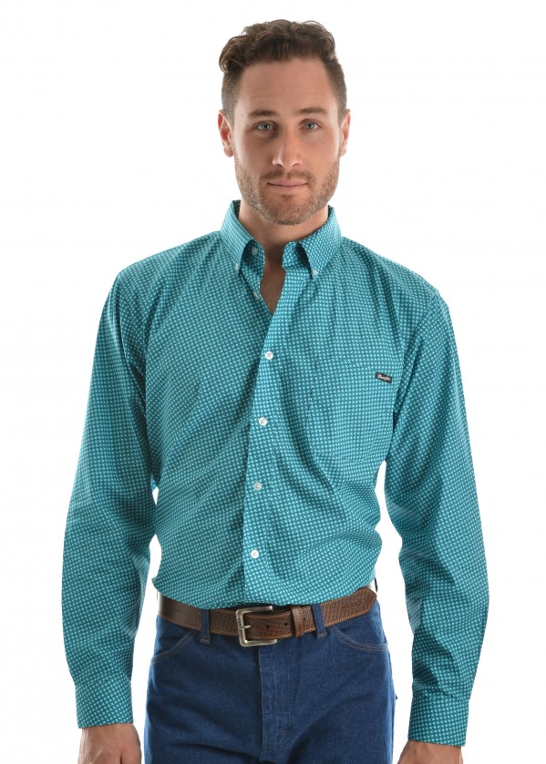MENS MILES PRINT BUTTON DOWN LS SHIRT