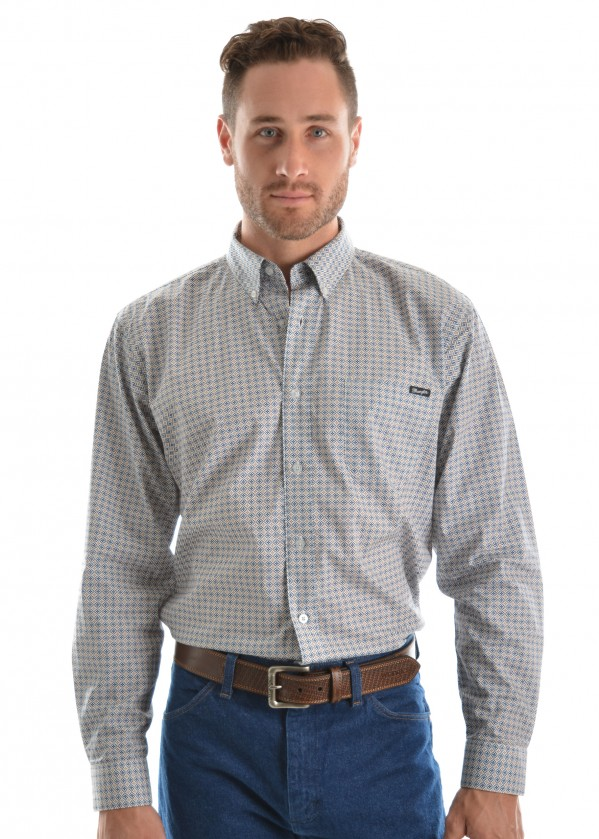 MENS HENRY PRINT BUTTON DOWN LS SHIRT