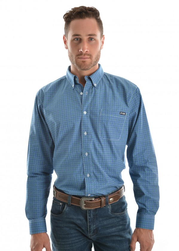 MENS RHETT PRINT BUTTON DOWN LS SHIRT