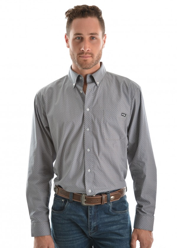 MENS FLETCHER PRINT BUTTON DOWN LS SHIRT