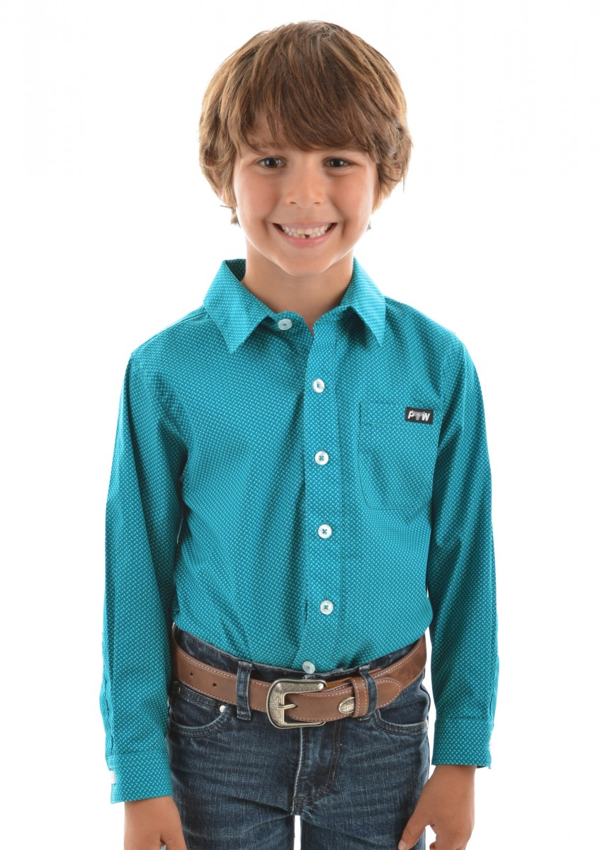 BOYS DAWSON PRINT BUTTON DOWN LS SHIRT
