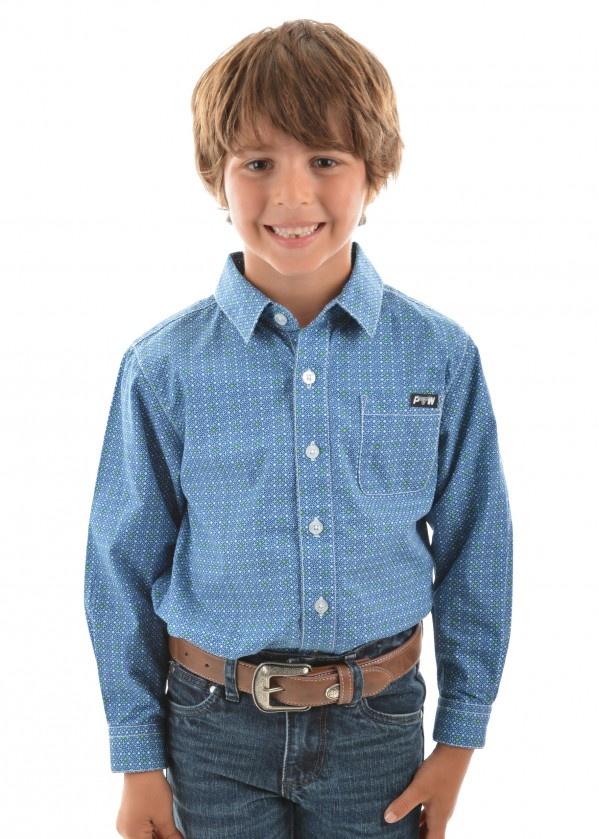 BOYS RHETT PRINT BUTTON DOWN LS SHIRT