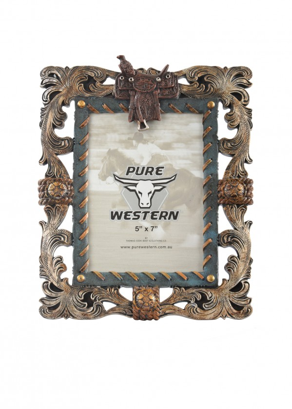 SILVER LEAF & SADDLE PICTURE FRAME 5x7