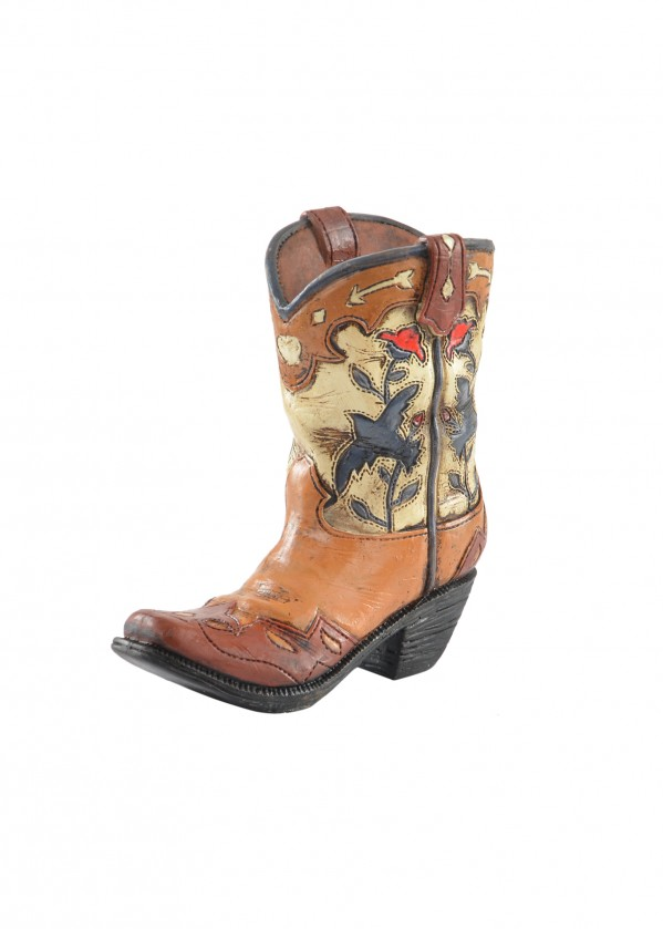 FLORAL BOOT WITH SWALLOWS PEN HOLDER